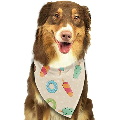 TNIJWMG Ice Creams Pattern Design Bandana Triangle Bibs Scarfs Accessories for Pet Cats and -