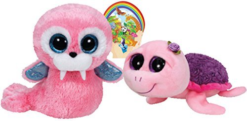 Ty Beanie Boos ROSIE Purple Rose Turtle and Tusk Pink Walrus Gift set of 2 Plush Toys 6-8 inches tall ()