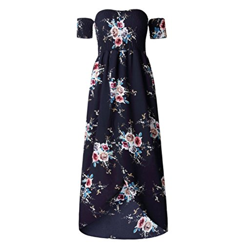Kleider Damen Voberry Frauen Blumen aus der Schulter Split Chiffon ...