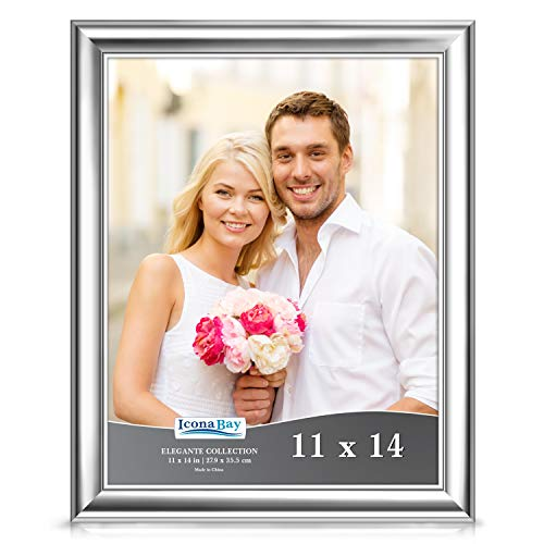 Icona Bay 11x14 Picture Frame (1 Pack, Silver), Silver Photo Frame 11 x 14, Wall Mount or Table Top, Set of 1 Elegante Collection (Wedding Picture Frames 11 X 14)
