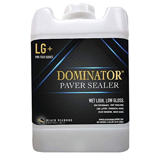 5 Gallon DOMINATOR LG+ Low Gloss Paver Sealer and Decorative Concrete (Wet Look) - Solvent Free, Twice The Coverage Rate (up to 2,000 sq ft) (Patio Flagstone Sealing)