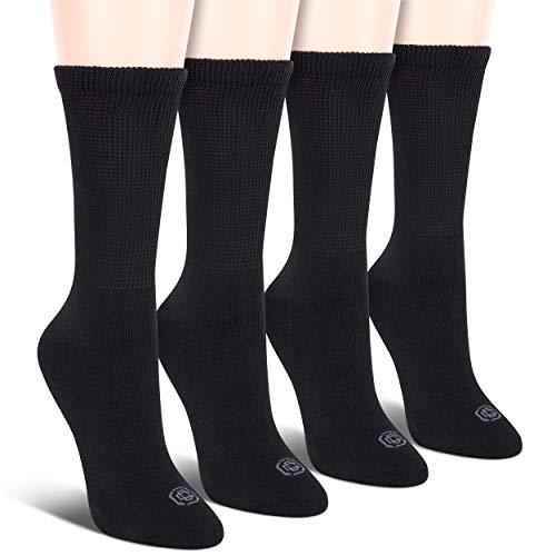 (Doctor's Choice Women's Non-Binding Circulatory Diabetic 4 Pack Black Cushioned Crew Socks Shoe Size 4-10 )