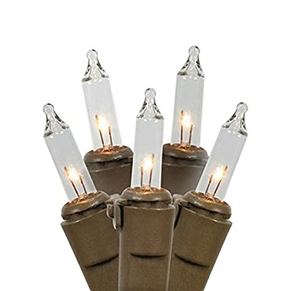 vickerman clear mini christmas lights with 4 spacing and brown wire set of 100