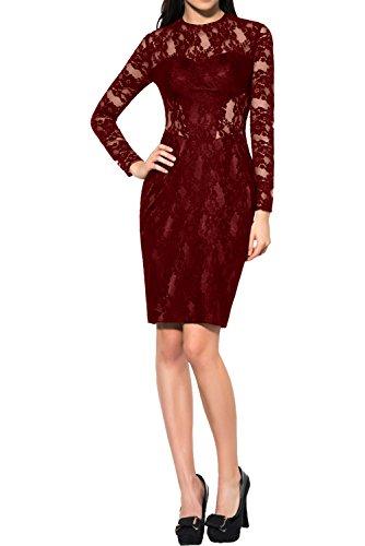 Langarm Etui Spitze Partykleid Abendkleider Damen Ivydressing Tanzenkleider Weinrot Ballkleid Kurz Elegant EqwgzTRxnp