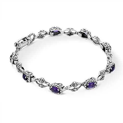 Carolyn Pollack Sterling Silver Purple Amethyst Gemstone Tennis Bracelet Size Medium
