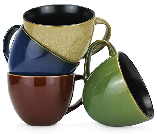 - 18oz Jumbo Wide-Mouth Soup & Cereal Ceramic Coffee Mugs, Assorted Reactive Glaze Colors, Set of 4 by Serami