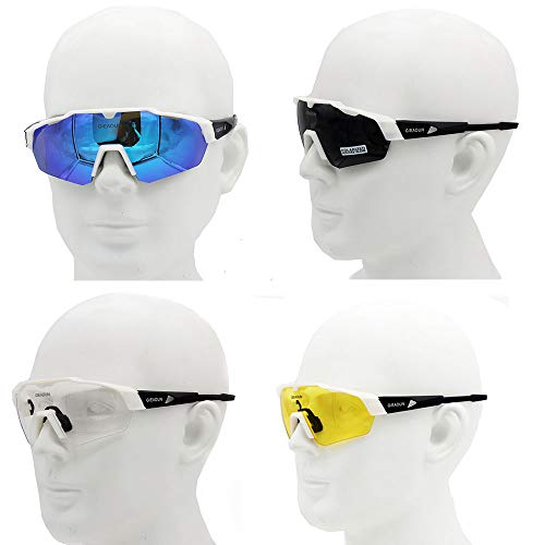 c1622b7364 GIEADUN Sports Sunglasses Protection Cycling Glasses with 4 Interchangeable Lenses  Polarized UV400 for Cycling