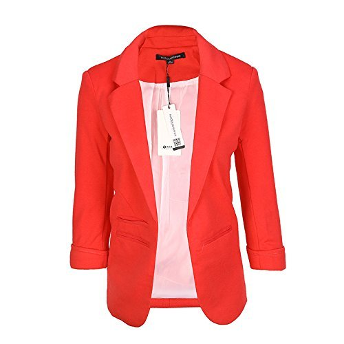 HaoDuoYi Womens Casual Work Office Boyfriend Open Front Blazer Jacket (XX-Large, Burgundy)