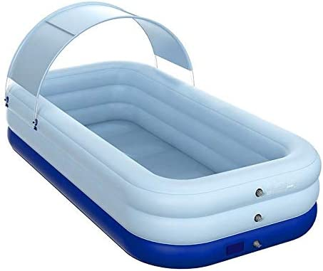 WOYAOFA 青と白の日よけ付き浴槽のバスアメニティを折りたたみポータブル幼児浴槽の大人インフレータブルスイミングプール浴槽のフットポンプ、 Ldealサイズ (Size : 210x150x68cm)