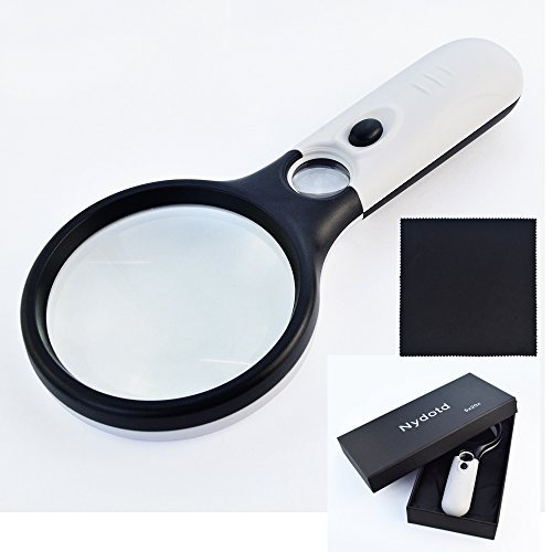 3 LED 5X 20X Handheld Magnifier, Nydotd 3.2 inches Portable Illuminated Magnifying Glass with Light for Reading Repair Magnifying Jewelry Appreciating Hobby & Crafts (White & Black)
