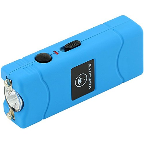VIPERTEK VTS-881 - 7 Billion Micro Stun Gun - Rechargeable with LED Flashlight, Blue