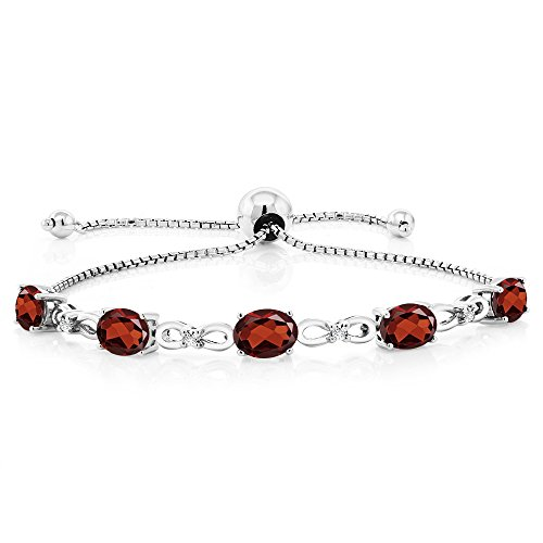 (Gem Stone King 925 Sterling Silver Adjustable Diamond Tennis Bracelet 4.50 ct Oval Garnet)