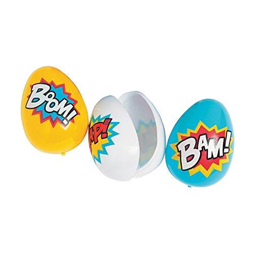Fun Express - Superhero Easter Eggs for Easter - Party Supplies - Containers & Boxes - Plastic Containers - Easter - 12 -