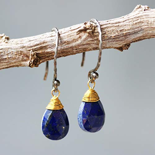 Teardrop faceted lapis lazuli earrings with brass wire wrapped and oxidized sterling silver hooks style