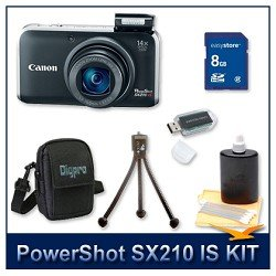 Canon PowerShot SX210 IS Digital Camera (Black) 4246B001, 14.1 Megapixel, 14x...