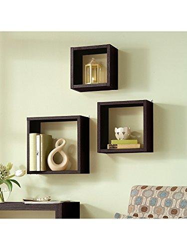 Cajas de presentación - nogal contemporáneo de colgarlas en la pared o colocarlos en el suelo