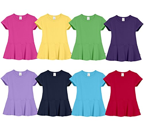 City Threads Big Girls Cotton Short Sleeve Peplum Blouse Shirt School, Party