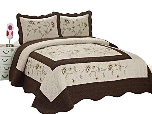 (3pcs High Quality Fully Quilted Embroidery Quilts Bedspread Bed Coverlets Cover Set , Queen King (Taupe/Brown) )