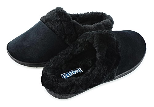 Floopi Womens Indoor Outdoor Soft Velour Quilted Fur Lined Clog Slipper W/Memory Foam