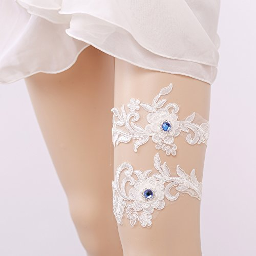 Lace Wedding Garter, Gift for Bride, Flower Bridal Keepsake Garter Toss Garter (White Band Blue Crystal Pair (Keepsake Bridal Garter)