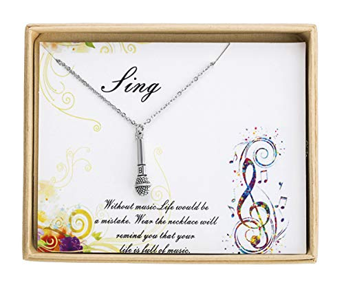 Sunique Microphone Pendant Necklace Singer Gift Musician Gift Music Artist Gift Women Jewelry