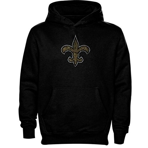 Outerstuff New Orleans Saints Youth Distressed Team Logo Pullover Hoody (L) (Saints Jacket Pullover New Orleans)