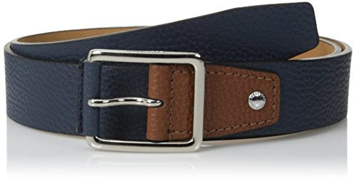 [Cole Haan Men's 38 mm Flat Edge Belt with Nose Wrapped Center Bar Buckle, Navy/British Tan, 42] (Leather Pebbled Buckle Belt)