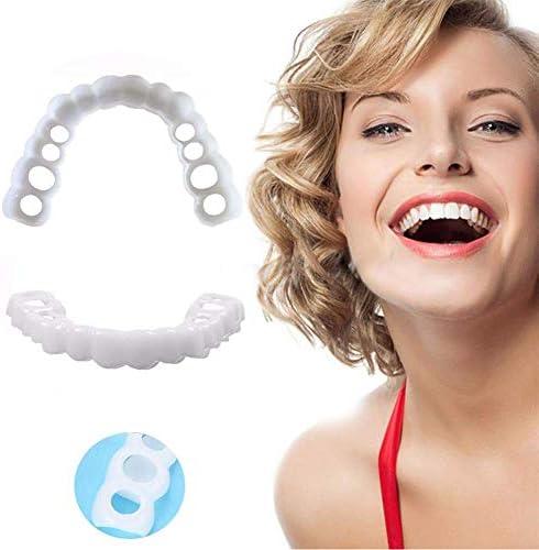 TLKSJ Zähne Veneers Whitening Gemütlich Qualitativ Hochwertige Abnehmbar Und Wiederverwendbar Oberes Und Unteres Furnier Einheitsgröße