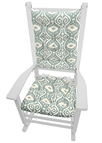Rocking Chair Cushions - Bali Ikat Aqua Spa - Reversible, Latex Foam Fill - Made in USA (Extra-Large)