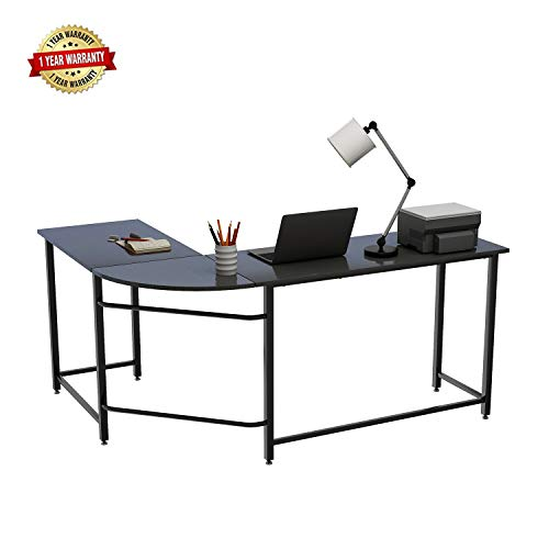 MIERES L-Shape Home Office Corner Computer Desk PC Laptop Table 66 x 49 with 19 Deep Workstation Wood Metal , T2