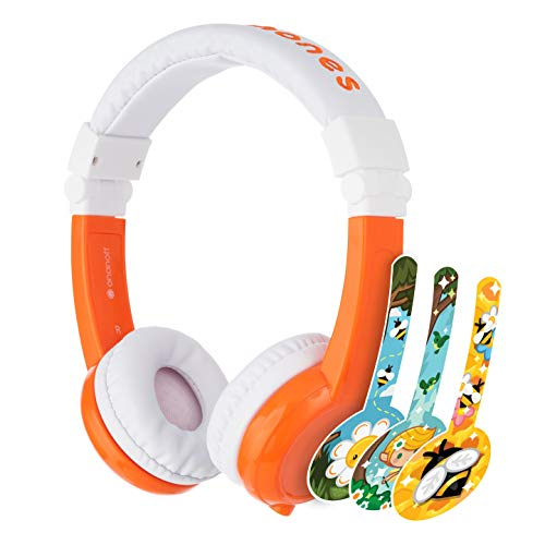 ONANOFF BuddyPhones Explore Foldable - Kids Volume Limiting Headphones - Built-in Audio Sharing Cable and in-Line Mic - Compatible with Fire, iPad, iPhone, and Android Devices - Orange