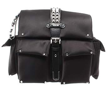 Michael Kors 30S9SOVB2C-001 Olivia Medium Studded Satin Backpack, Black