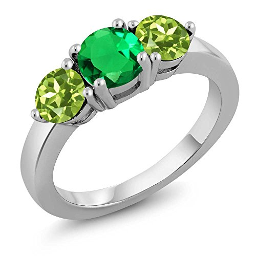1.97 Ct Round Green Simulated Emerald Green Peridot 925 Sterling Silver Ring (Size 9)