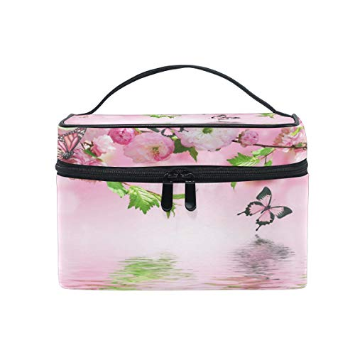 Toprint Large Makeup Bag Organizer Floral Flower Butterfly Print Cosmetic Case Bag Toiletry Storage Portable Zipper Pouch Travel Brush Bag for Women Girls -