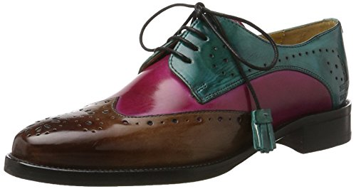 Melvin&Hamilton Betty 3 - Zapatos Derby Mujer Mehrfarbig (Crust Mink, Dk.Pink, Turquoise/ Tassel Turquoise, Hrs)