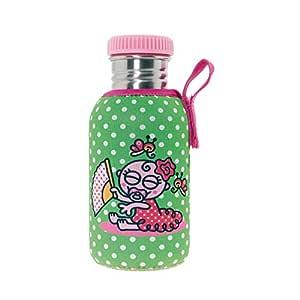 Katuki Saguyaki - Botella Infantil de Acero Inoxidable 18/8 con Tapón Rosa y Funda de Neopreno Verde