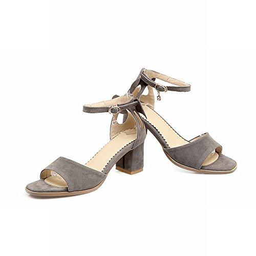 Shoes Mid Block Sandals Grey Women's Strap Heel Sweet Ankle Buckle Mee Heel q1ZUwdtq