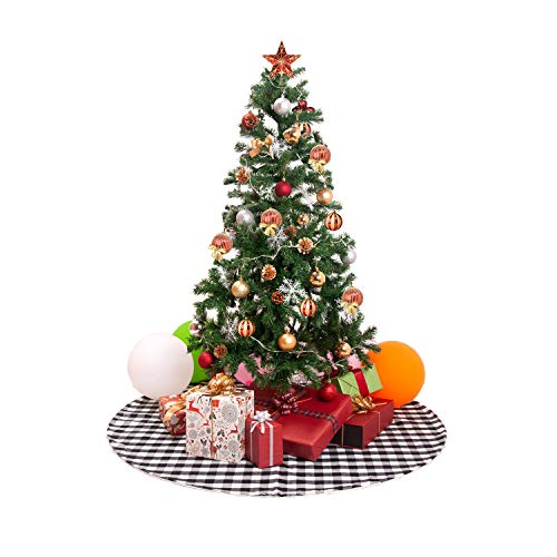 EDLDECCO 48 inch Christmas Tree Skirt with Black and White Buffalo Check Tree Skirt Double Layers a Fine Decorative Handicraft for Holiday Party