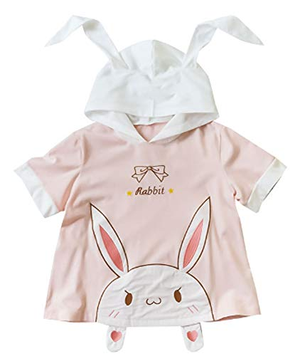 Cosplay Anime Bunny Emo Girls Sweater Hoodie Ears Costume Panda Cat Emo Bear Jacket T Shirt Top Shirt (Bunny SS)]()