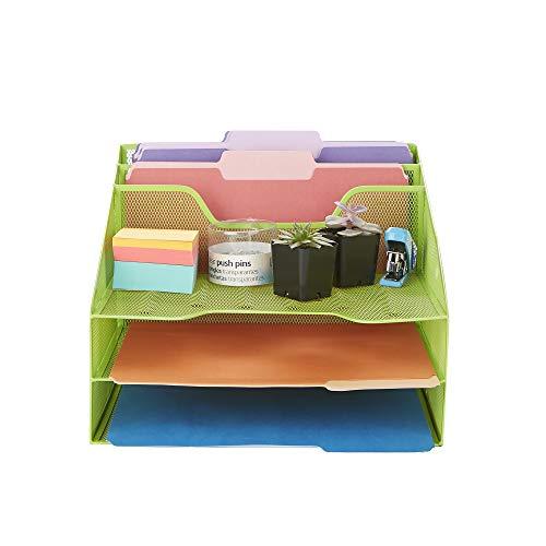 Mind Reader MESHBOX5-GRN Mesh Organizer 5 Desktop Document Letter Tray for Folders, Mail, Stationary, Desk Accessories, Green