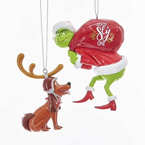 Kurt Adler Grinch Santa and Dog Max Holiday Ornaments Set of 2 (Christmas Tree Decorations Grinch)