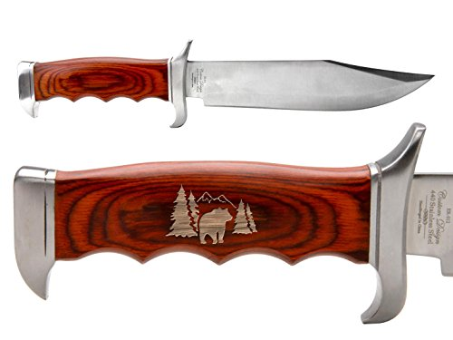 NDZ Performance Elk Ridge Outdoor Hunting Fixed Blade Full Tang Bowie Knife Bear Silhouette Scene 2