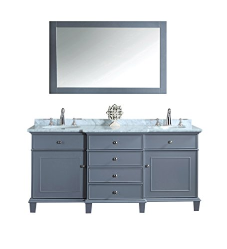 Stufurhome HD-7000G-72-CR Cadence Double Sink Bathroom Vanity With Mirror, 72
