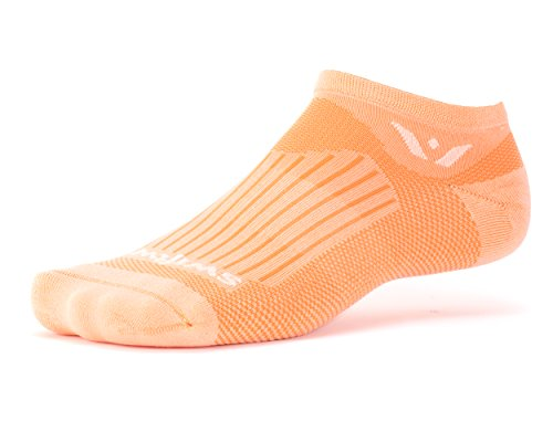 Swiftwick ASPIRE ZERO, No Show Socks for Cycling, Peach , Small