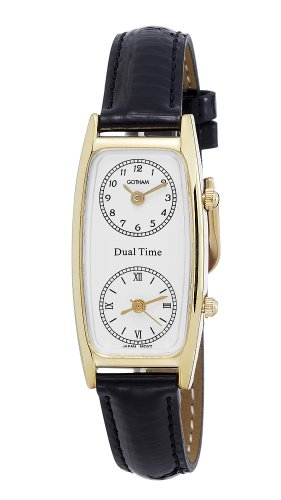 (Gotham Women's Gold-Tone Dual Time Zone Leather Strap Watch # GWC15091GBK)