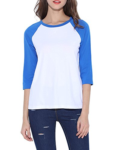 HUHOT Cotton Crew Neck 3/4 Sleeve Jersey Shirt Baseball Tee Raglan T-Shirts Large Blue