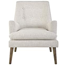 Farmhouse Accent Chairs Modway Leisure Mid-Century Modern Upholstered Fabric Lounge Accent Chair in Beige farmhouse accent chairs