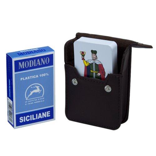 Italian Siciliane Cards w/ Leather Card Case