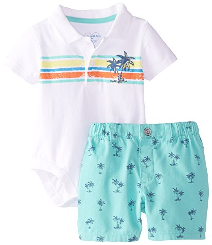 The Children's Place Baby-Boys Newborn Polo and Short Set, Cool Mint, 12-18 Months
