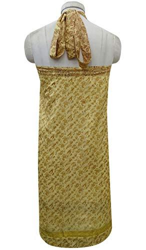 vtements Indianbeautifulart Saree Femmes Portefeuille Beige d't Robe rversible PwwaW7qrE